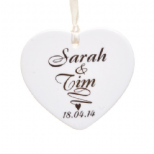 Script Names Ceramic Heart - Christmas Tree Decoration